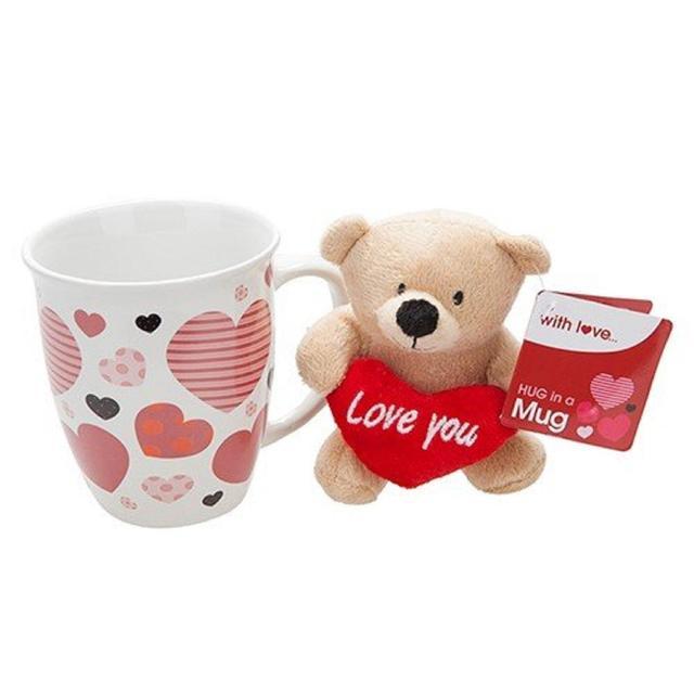 Valentines Day Teddy Bear In A Mug