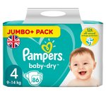 Pampers Baby-Dry Size 4, 86 Nappies 86 per pack