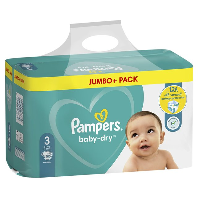 Pampers Baby Dry Size 3 100 Nappies Ocado