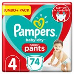 Pampers Baby-Dry Nappy Pants Size 4, x74, 9-15kg, Jumbo+ Pack 74 per pack