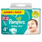Pampers Baby Dry Nappies Size 4+ Jumbo Pack