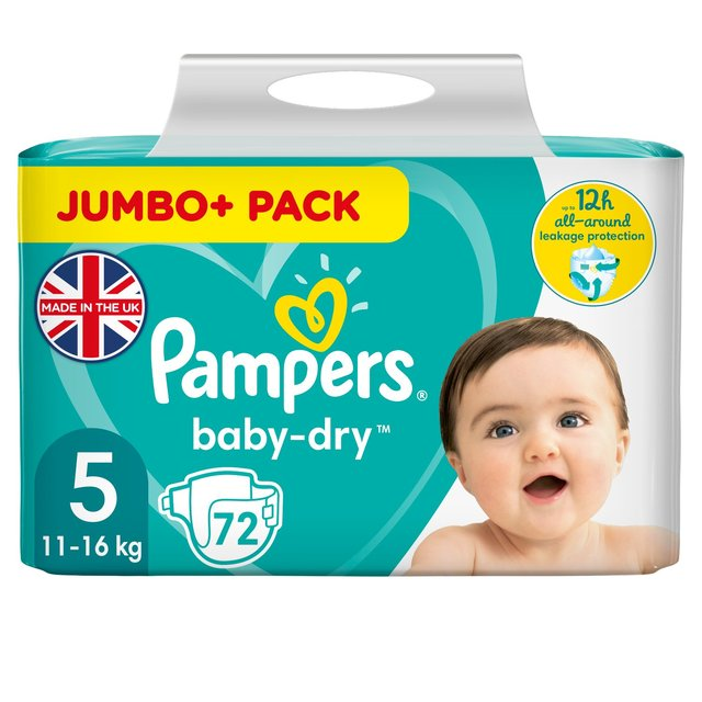 pampers baby dry nappies size 5 jumbo pack 72 per pack. Black Bedroom Furniture Sets. Home Design Ideas