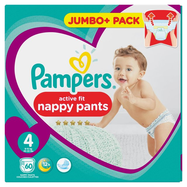 pampers active fit pants size 4 jumbo pack 60 per pack from ocado. Black Bedroom Furniture Sets. Home Design Ideas