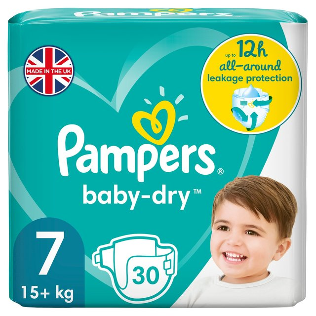 pampers baby dry nappies size 7 essential pack 28 per pack from ocado. Black Bedroom Furniture Sets. Home Design Ideas