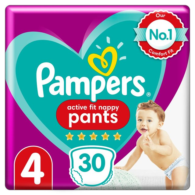 pampers active fit pants size 4 essential pack 32 per pack from ocado. Black Bedroom Furniture Sets. Home Design Ideas