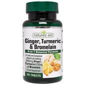 Natures Aid Ginger, Turmeric & Bromelain Tablets