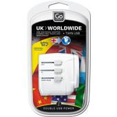 Go Travel UK - WORLDWIDE ADAPTOR + USB