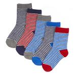 Waitrose Mini Ankle Socks, Block Stripe, 5 pairs