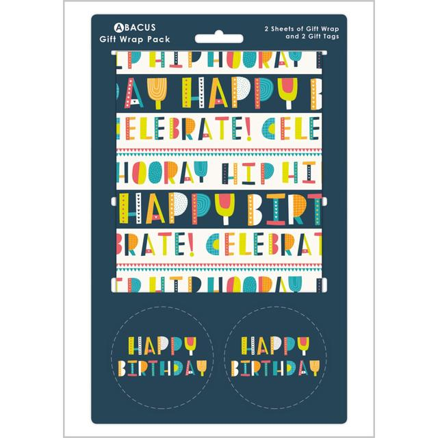 Happy Birthday Gift Wrap Sheets 2 Per Pack From Ocado