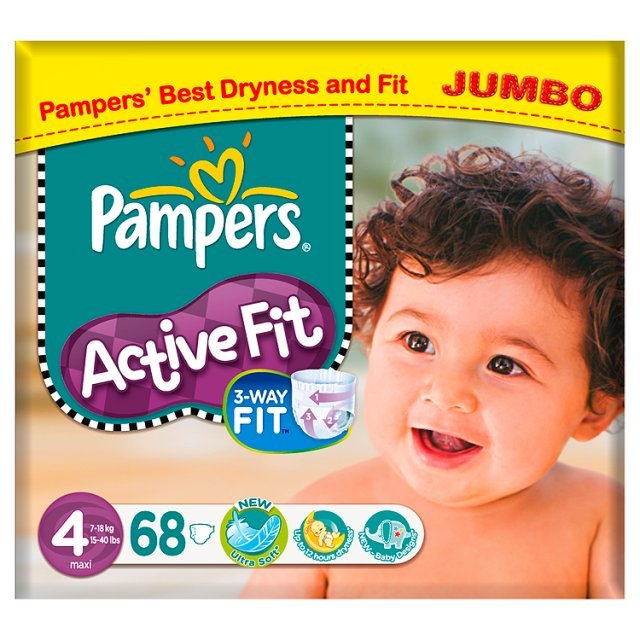 Pampers Active Fit Size 4 Maxi Jumbo Pack 7-18kg/15-40lbs