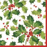 Holly Christmas Paper Napkins
