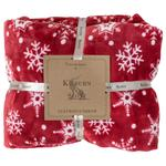 Snowflake Flannel Fleece Throw, Red