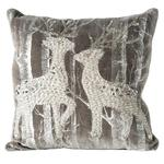 Woodland Reindeers Embelished Cushion, Silver