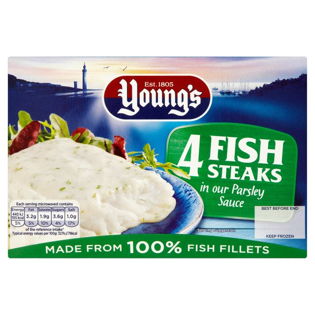 Young's 4 Fish Steaks in Parsley Sauce Frozen