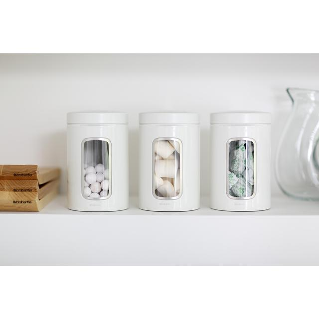 Brabantia Window Canisters 14L White 3 per pack from Ocado