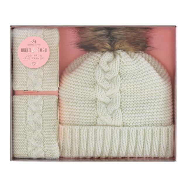 Aroma Home Knitted Hat Hand Warmers Gift Box Cream From Ocado