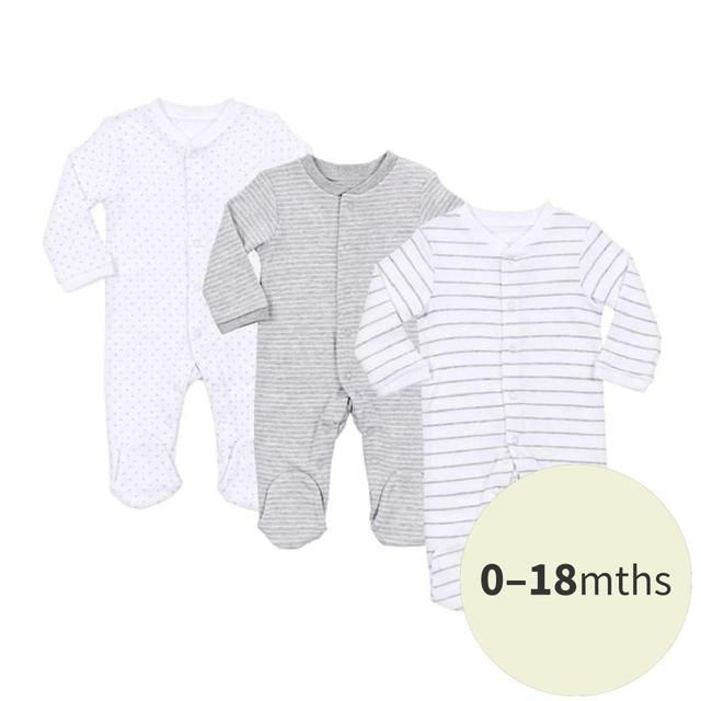 Waitrose Mini Sleepsuits, White & Grey