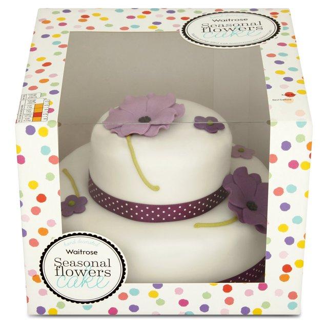 Waitrose 2 Tier Seasonal Flowers Cake 20 Servings