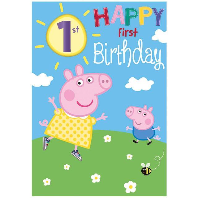 Peppa Pig 1st Birthday Card From Ocado