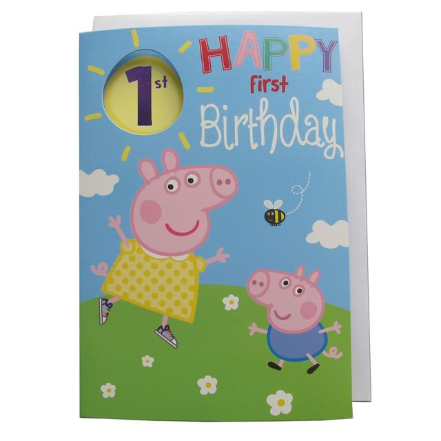 Peppa Pig 1st Birthday Card From Ocado
