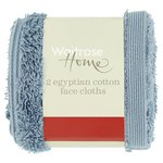 Waitrose Home Egyptian Cotton Twin Pack Face Cloth Pacific