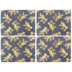 Sara Miller Etched Leaves Placemats Navy