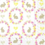 Easter Bunny & Roses 3ply Napkins