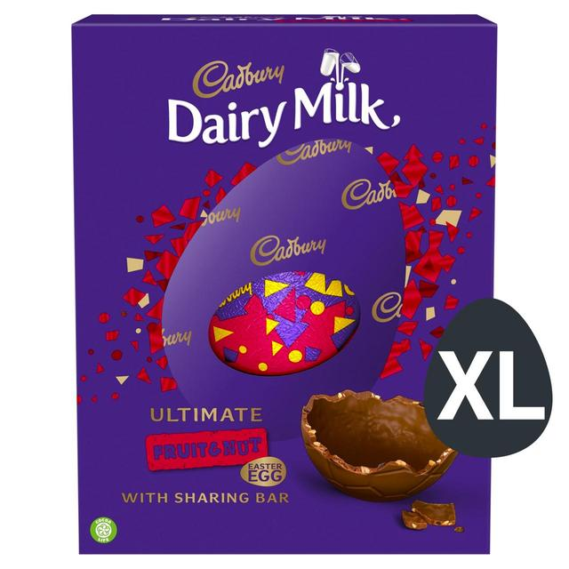 Nuts And Praline Easter Egg: Cadbury Fruit & Nut Inclusions Giant Egg 560g From Ocado