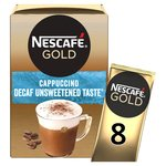Nescafe Gold Decaff Cappuccino Unsweetened Coffee 8 Sachets