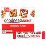 Goodness Knows 3 Cranberry & Almond Bars