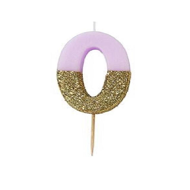 Talking Tables 0 Birthday Cake Candle Pink And Gold Glitter