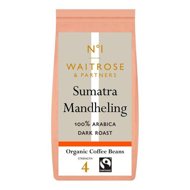 waitrose 1 organic sumatra coffee beans mandheling 227g. Black Bedroom Furniture Sets. Home Design Ideas