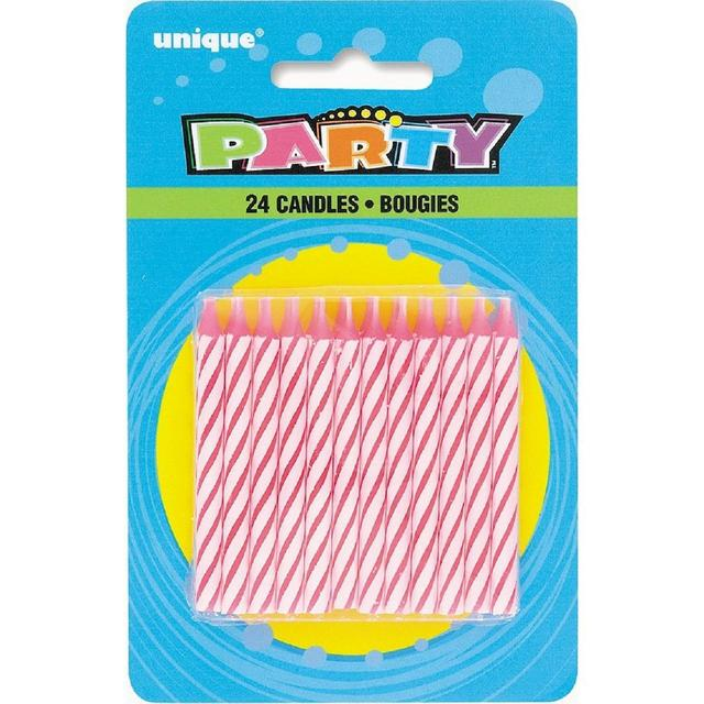 Unique Party Pink Spiral Birthday Candles 24 Per Pack