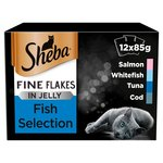 Sheba Wet Cat Food Pouches, Fine Flakes in Jelly, Fish Collection