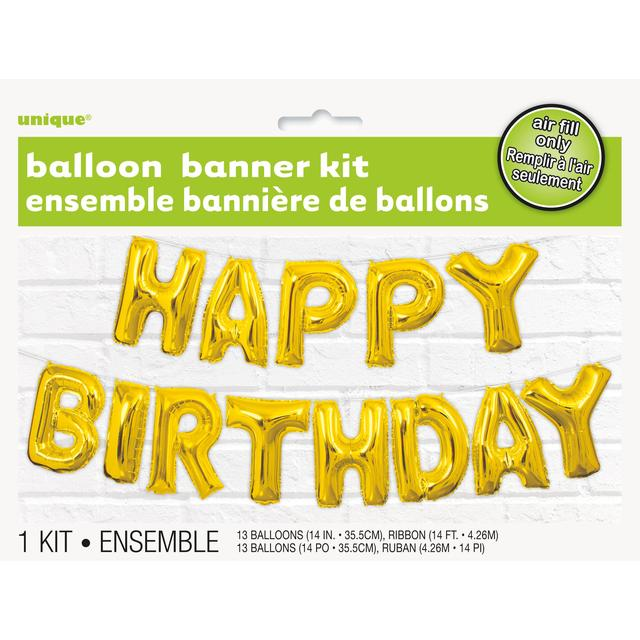 Unique Party Gold Happy Birthday Balloon Letter Banner Kit From Ocado