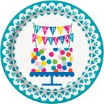 "Unique Party Confetti Cake Birthday 9"" Plate"