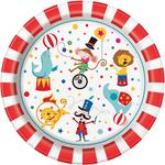 "Unique Party Circus Carnival 9"" Round Plates"