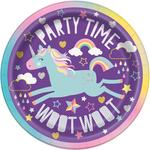 "Unique Party Unicorn 7"" Round Plates"