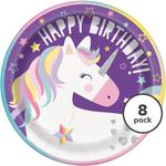 "Unique Party Unicorn 9"" Round Plates"