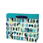 Birthday Pop Gift Bag Cyan, Medium