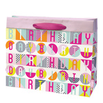 Birthday Pop Gift Bag Fuchsia, Large