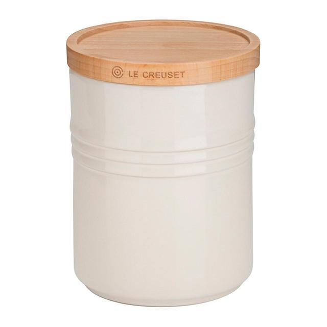 Le Creuset Stoneware Medium Storage Jar With Wooden Lid Almond