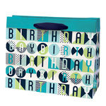 Birthday Pop Gift Bag Cyan, Large