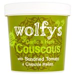 Wolfy's Garlic & Herb Couscous with Sundried Tomato & Chipotle Relish
