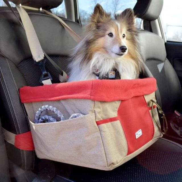 Kurgo Heather Dog Car Booster Seat Nutmeg Red