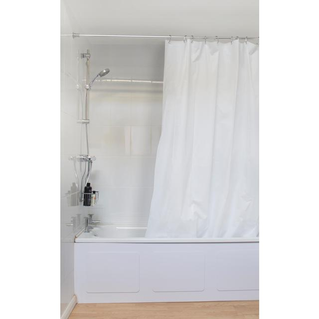 Croydex White Plain PVC Shower Curtain