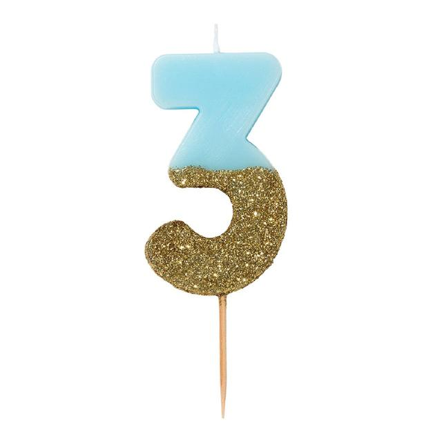 Talking Tables 3 Birthday Cake Candle Blue And Gold Glitter