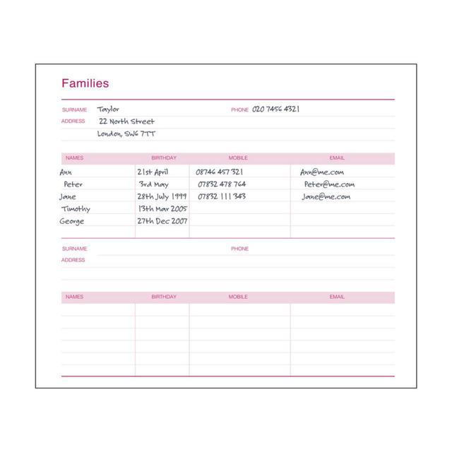 mum s office family address book pink from ocado