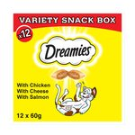 Dreamies Cat Treats Variety Snack Box With Chicken, Cheese & Salmon