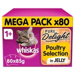 WHISKAS 1+ Cat Pouches Pure Delight Poultry Selection in Jelly Giant Pack